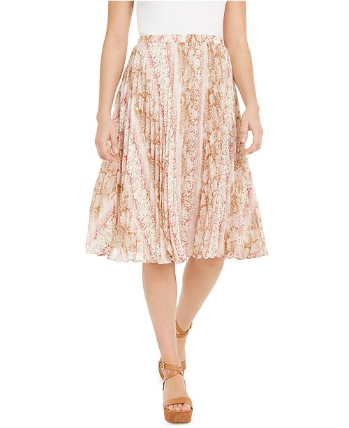 Lucy Paris Leena Snake-Print Pleated Midi Skirt