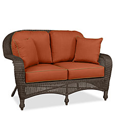 Monterey Wicker Outdoor Loveseat: with Custom Sunbrella®,  Created for Macy's