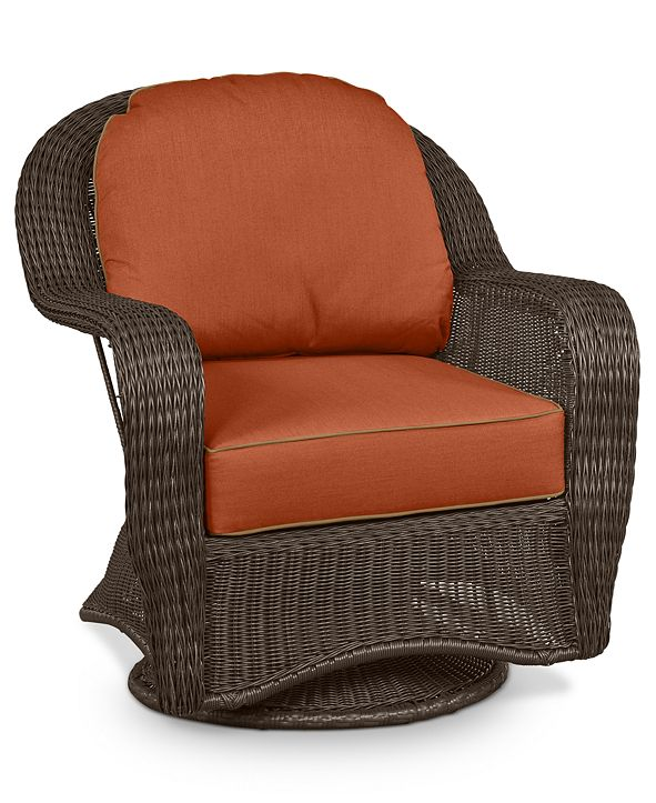 Furniture Monterey Wicker Outdoor Swivel Glider: with Custom Sunbrella®, Created for Macy's