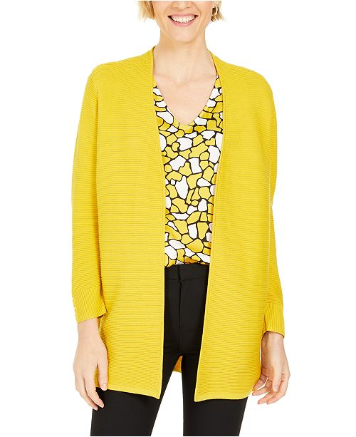 Kasper Petite Ribbed Button-Trim Cardigan
