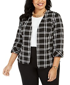 Plus Size Plaid Open-Front Jacket