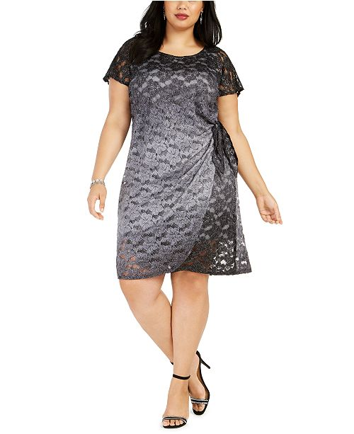 Robbie Bee Plus Size Side-Tie Lace Dress