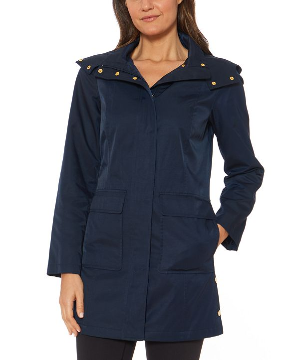 Jones New York Hooded Snap-Collar Water-Resistant Raincoat