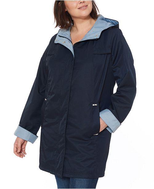 Jones New York Plus Size Hooded Colorblocked  Water-Resistant Raincoat