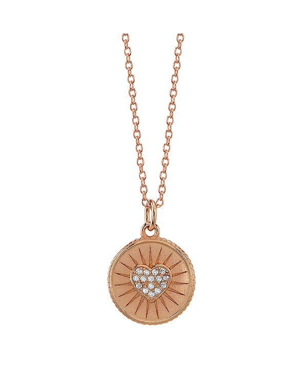 "Unwritten Cubic Zirconia Fine Plated Silver Heart Pendant Necklace, 16""+2"" Extender"