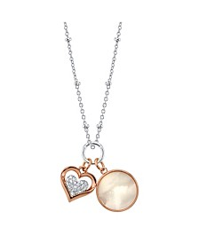 Cubic Zirconia Heart And Mother Of Pearl Pendant Rose Gold Two Tone Fine Plated Silver Necklace