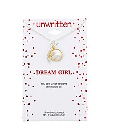 """Cubic Zirconia Moon & Star Pendant Yellow Gold Two Tone 16"""" + 2"""" Extender Necklace"""