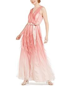 Juniors' Ruffled Glitter-Mesh Gown