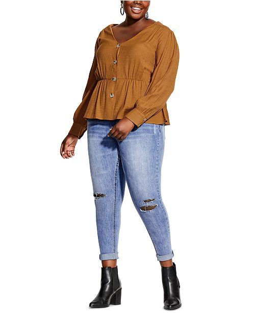 City Chic Trendy Plus Size Button Appeal Top