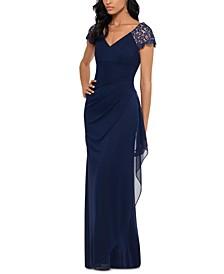 Petite Lace-Shoulder Gown