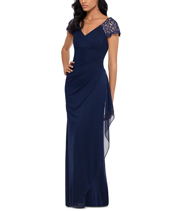 XSCAPE Lace-Sleeve Chiffon Gown