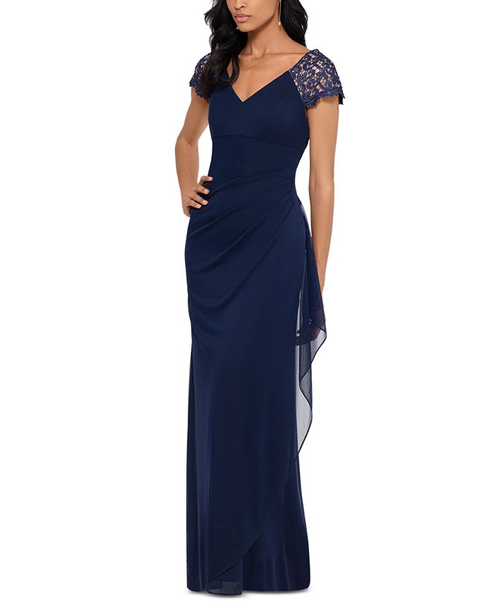 XSCAPE - Lace-Sleeve Chiffon Gown