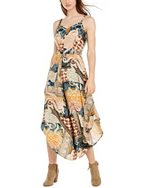 Juniors' Mixed-Print Asymmetrical-Hem Cropped Jumpsuit