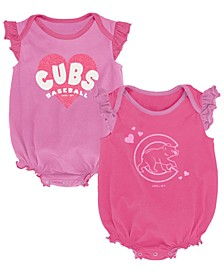 Baby Chicago Cubs Pink Double Trouble Bodysuit Set