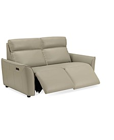 """Sophine 61"""" Leather Dual Power Motion Loveseat, Created for Macy's"""