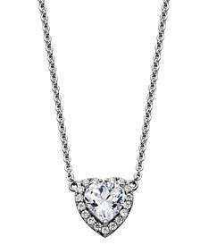 Cubic Zircona Heart Halo Necklace in Fine Silver Plate