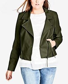 Trendy Plus Size Biker Jacket