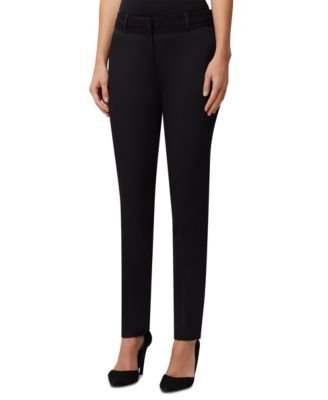 Lace-Trim Slim-Leg Dress Pants