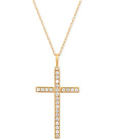 "Diamond Cross 18"" Pendant Necklace (1/4 ct. t.w.) in 10k Gold"