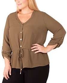 Plus Size Drawstring-Waist Blouse