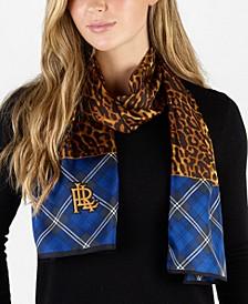Angelina Leopard Plaid Silk Oblong Scarf