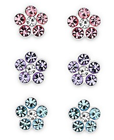Children's  Crystal Flower Stud Earrings - Set of 3 in Sterling Silver