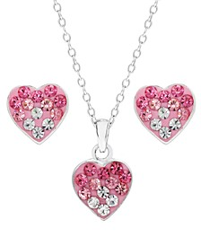Children's  Ombre Crystal Heart Pendant Necklace Stud Earrings Set in Sterling Silver