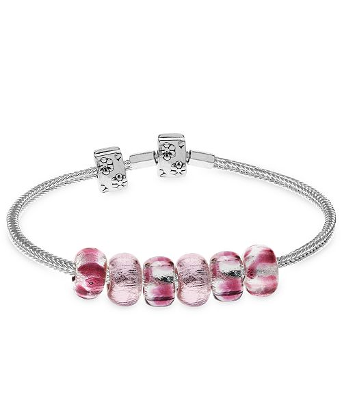 Rhona Sutton Children's Premade Charm Bracelet with Stopper in Sterling Silver. Available in Pink, Blue and Red