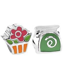 Children's  Enamel Snail Flower Bead Charms - Set of 2 in Sterling Silver