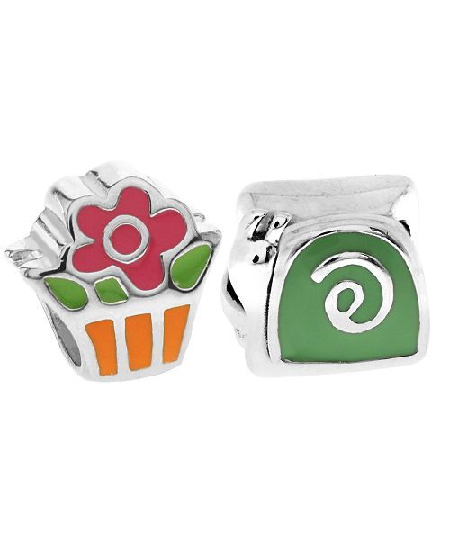 Rhona Sutton Children's  Enamel Snail Flower Bead Charms - Set of 2 in Sterling Silver