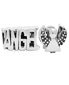 Children's  Angel Bead Charms - Set of 2 in Sterling Silver