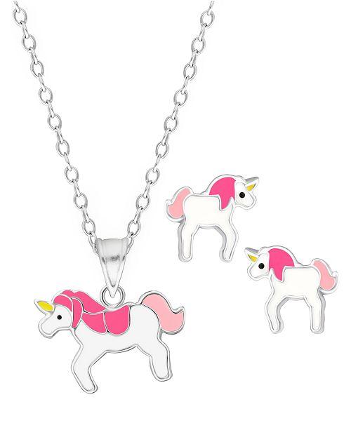 Rhona Sutton Children's  Unicorn Pendant Necklace Stud Earrings Set in Sterling Silver