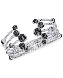 5 Row Crystal Dome Cuff Bangle in  Sterling Silver