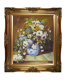 "by Overstockart Grande Vase Di Fiori by Pierre-Auguste Renoir with Victorian Frame Oil Painting Wall Art, 32"" x 28"""