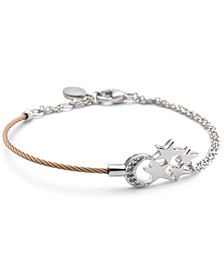 White Topaz Moon & Stars Cable Bracelet (1/8 ct. t.w.) in Sterling Silver & Rose Gold-Tone PVD Stainless Steel