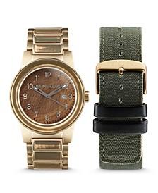 Men Gold-Tone Stainless Steel Bracelet Watch, 42mm