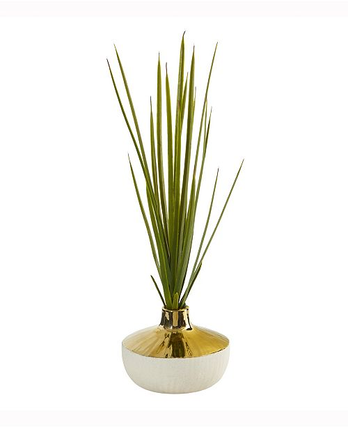 Nearly Natural 23in. Spiky Succulent Artificial Plant in Gold and Cream Elegant Vase