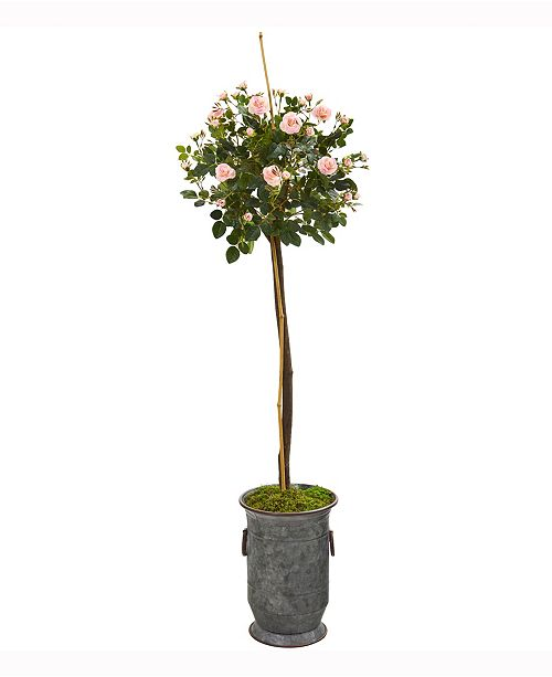 Nearly Natural 56in. Rose Topiary Artificial Tree in Vintage Metal Planter