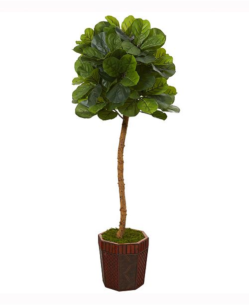 Nearly Natural 64in. Fiddle Leaf Artificial Tree in Decorative Planter Real Touch