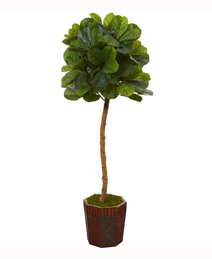 Nearly Natural - 64in. Fiddle Leaf Artificial Tree in Decorative Planter Real Touch