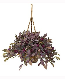 28in. Fall Laurel Leaf with Berries Artificial Plant in Hanging Basket