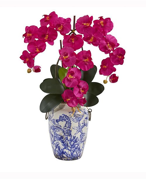Nearly Natural 24in. Phalaenopsis Orchid Artificial Arrangement in Weathered Ocean Vase