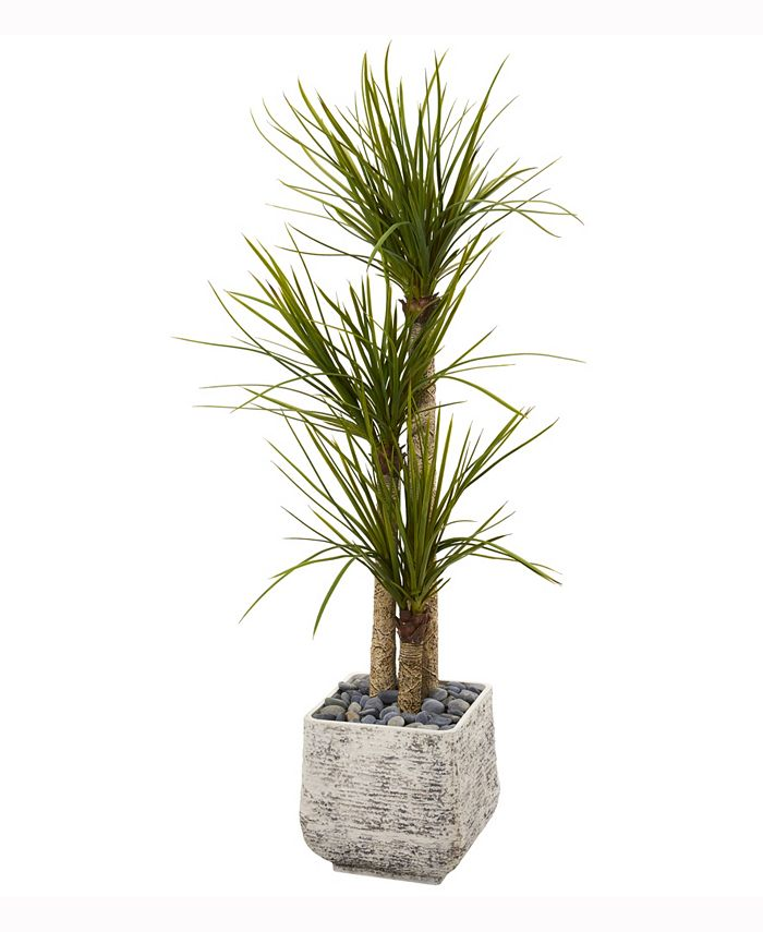 Nearly Natural - 5ft. Yucca Artificial Tree in White Planter