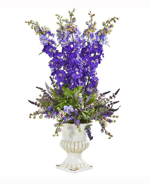 Nearly Natural 34in. Delphinium and Lavender Artificial Arrangement in White Urn