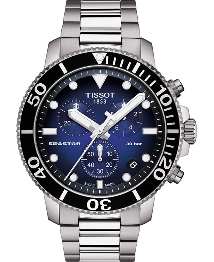 Tissot - Men's Swiss Chronograph Seastar 1000 Gray Stainless Steel Bracelet Watch 45.5mm