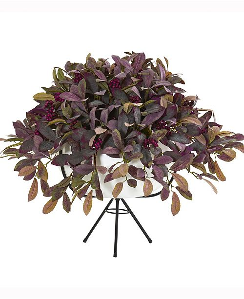 Nearly Natural 30in. Fall Laurel Leaf with Berries Artificial Plant in White Planter with Metal Stand