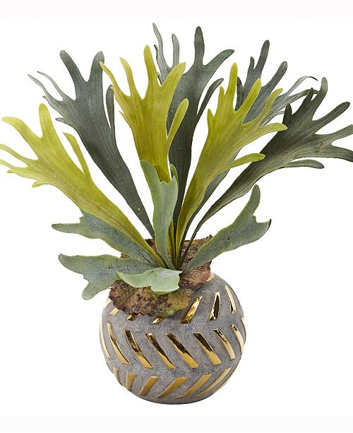 Nearly Natural 15in. Staghorn Artificial Plant in Planter with Gold Trimming