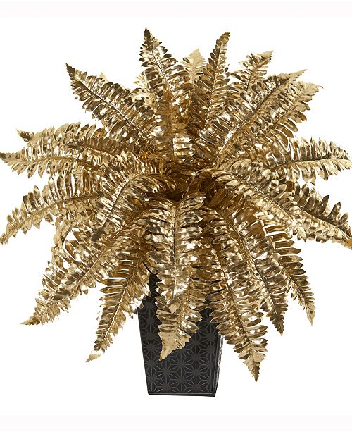 Nearly Natural 16in. Golden Boston Fern Artificial Plant in Embossed Black Planter