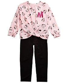 Little Girls 2-Pc. Minnie Mouse Top & Leggings Set