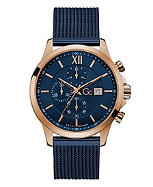 Gc Men's Executive Chrono Blue Stainless Steel Mesh Strap Watch 44mm